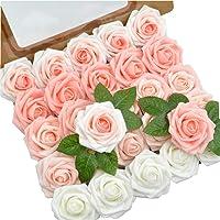 DerBlue 60 peças de flores de rosas artificiais com aparência real Rosas falsas Rosas decoração DIY para buquês de…