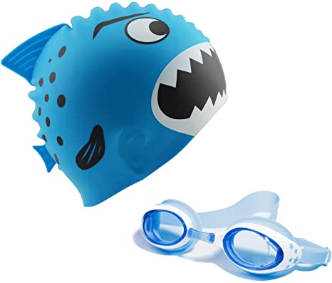 78dd186f39d4 Start Smart Kids Fun Silicone Swim Cap for Boys and Girls - Sharks    Minnows (