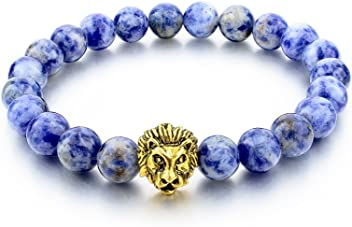 2018 Pulseras de Hombre Gold Leo Lion Head Bracelet 8mm Lava Bead Natural Stone PL0012