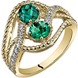 14K Yellow Gold Two Stone Created Emerald Ring 1.00 Carats Sizes 5-9