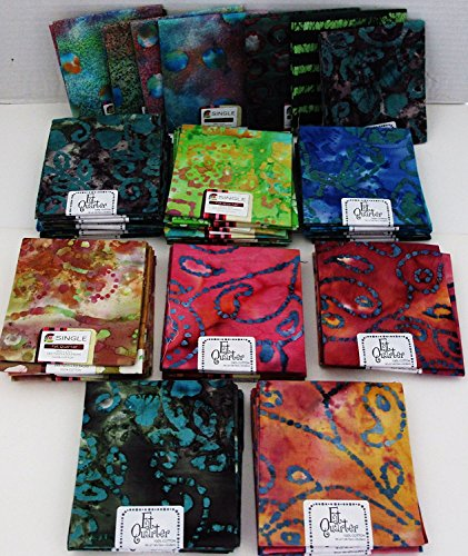 Batik Fat Quarter ~ Set of 8 100% Cotton ~ Batik Print ~ Quilt Fabric ~ Crafts ~ ()