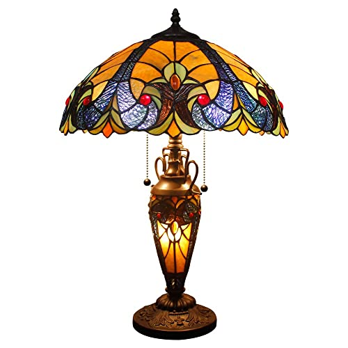 Tiffany Styled Lamp 3 Light W16 H24 Inch Yellow Liaison Stained Glass Table Lamp Night Light Base for Living Room Bedroom Coffee Table Reading Desk Beside Set S160E WERFACTORY