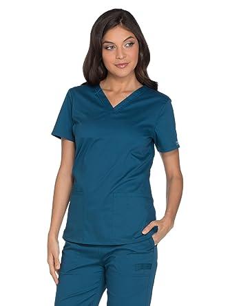 fee173441f2 Amazon.com  Cherokee Workwear Core Stretch Women s V-Neck Solid ...