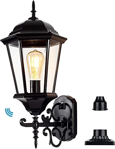 Outdoor Wall Lantern Dusk to Dawn, Wall Lights Fixture with Photocell Sensor, 21 Large Post Light Pole Light Porch Light Carriage Light with Pole Pier Mount Base Bulb Included