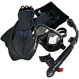 Promate Snorkeling Mask Dry Snorkel Fins Nylon Mesh Bag Set (SCS0094)