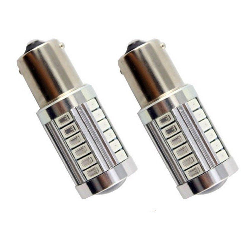 KATUR 2pcs 1156 BA15S 1141 7056 5630 33-SMD Amber 900 Lumens Super Bright LED Turn Tail Brake Stop Signal Light Lamp Bulb 12V 3.6W