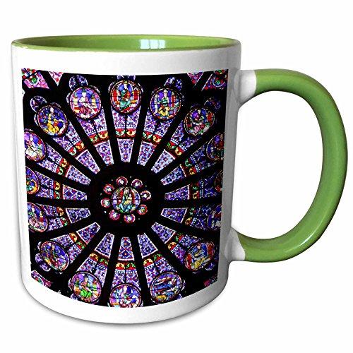 3dRose 137006_7 Window in Notre Dame cathedral, Paris, France EU09 WSU0025 William Sutton, Green Mug, 11 oz