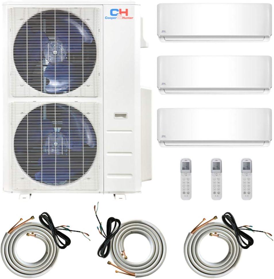 COOPER AND HUNTER Multi Zone Tri 3 Zone 18000 18000 24000 Ductless Mini Split Air Conditioner Heat Pump Full Set WiFi Ready