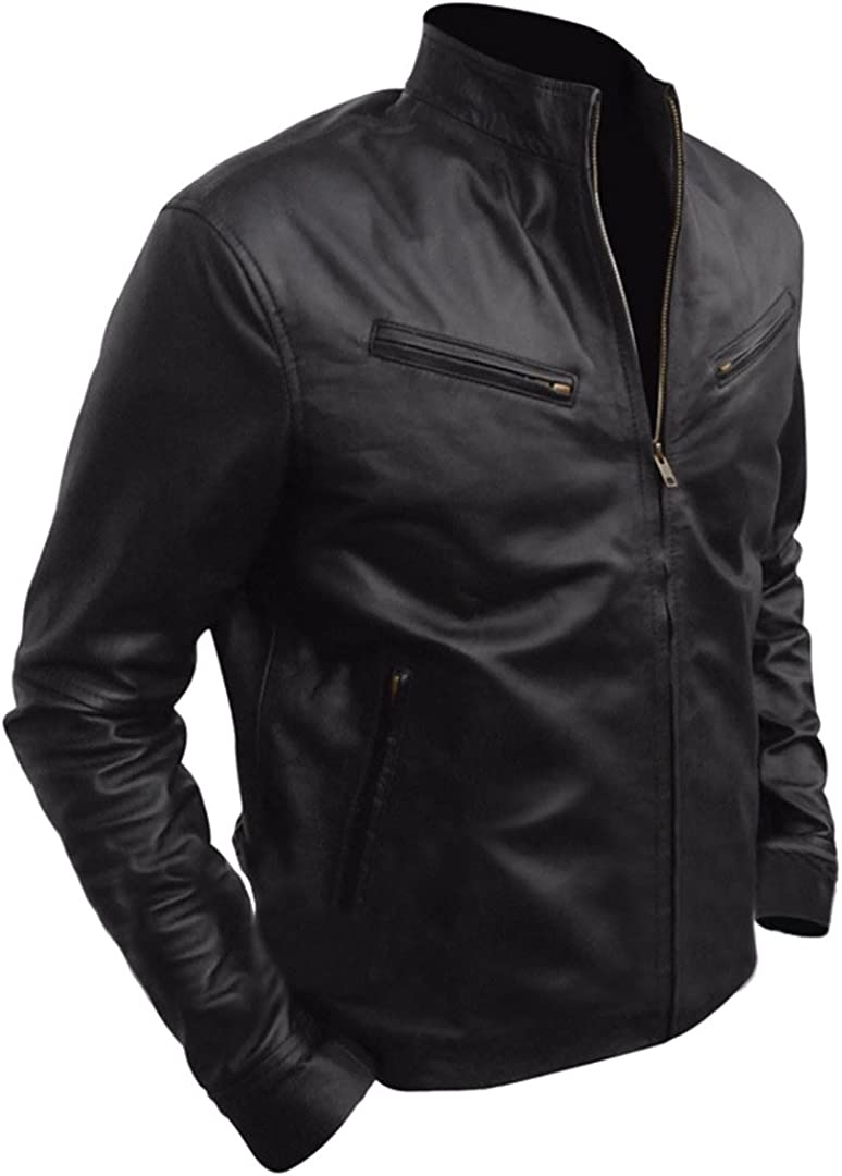 Classyak Mens Fashion Leather Biker Jacket