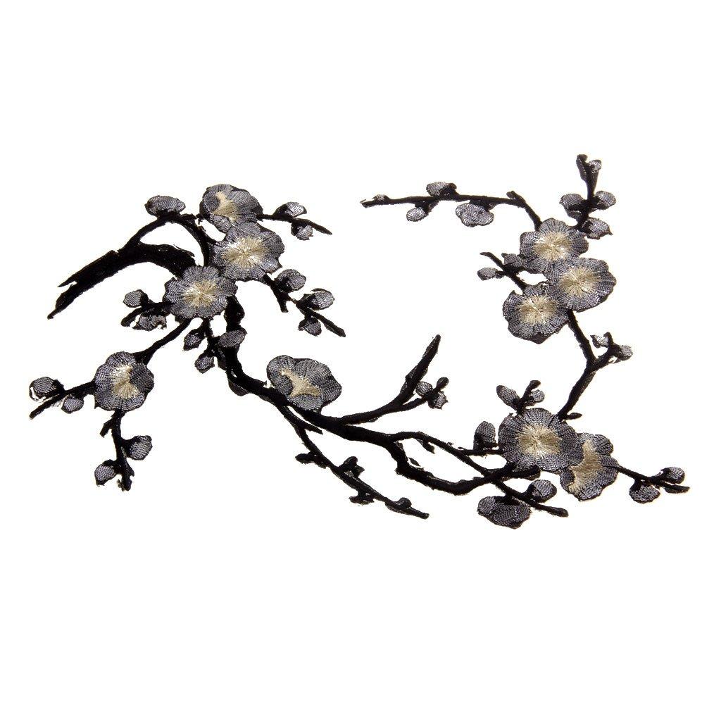 1pcs Apliques De Encaje Ciruelo Del Bordado Flor Oro negro 14cm Parche Motivos DIY Decoraciones 37cm