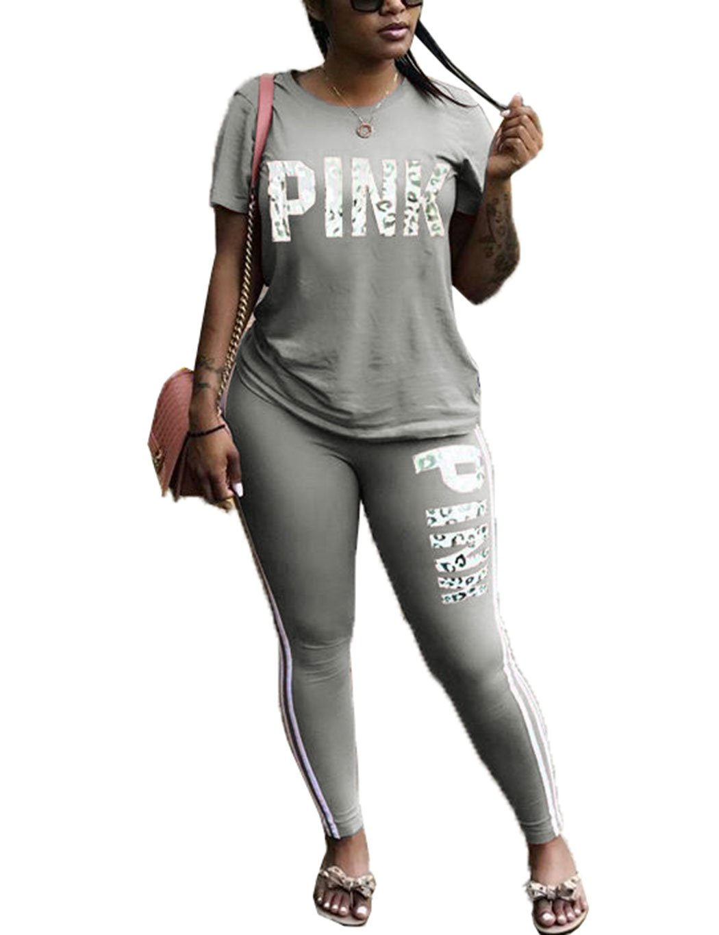 2018 Fashion Summer Two Piece Outfit Short Sleeve Tops and Long Pants for Young Ladies Grey L