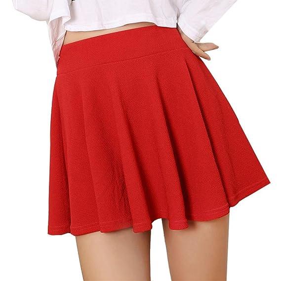 Gusspower Vintage Falda de Color Blanco Negro Rojo Liso Plisada para Mujeres Elegantes Hasta Rodilla Moderno