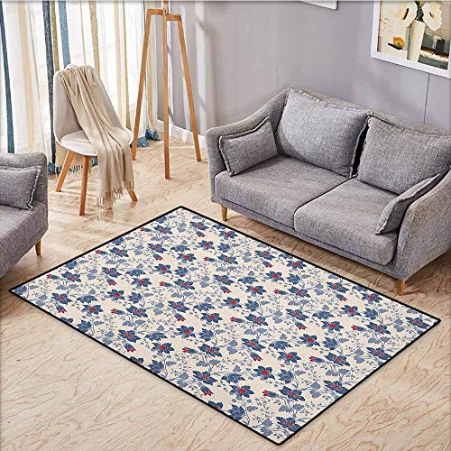 Outdoor Patio Rug,Floral,Classic Flowers with Vivid Blooms and Victorian Vintage Effects Pattern,Anti-Slip Doormat Footpad Machine Washable,3'11