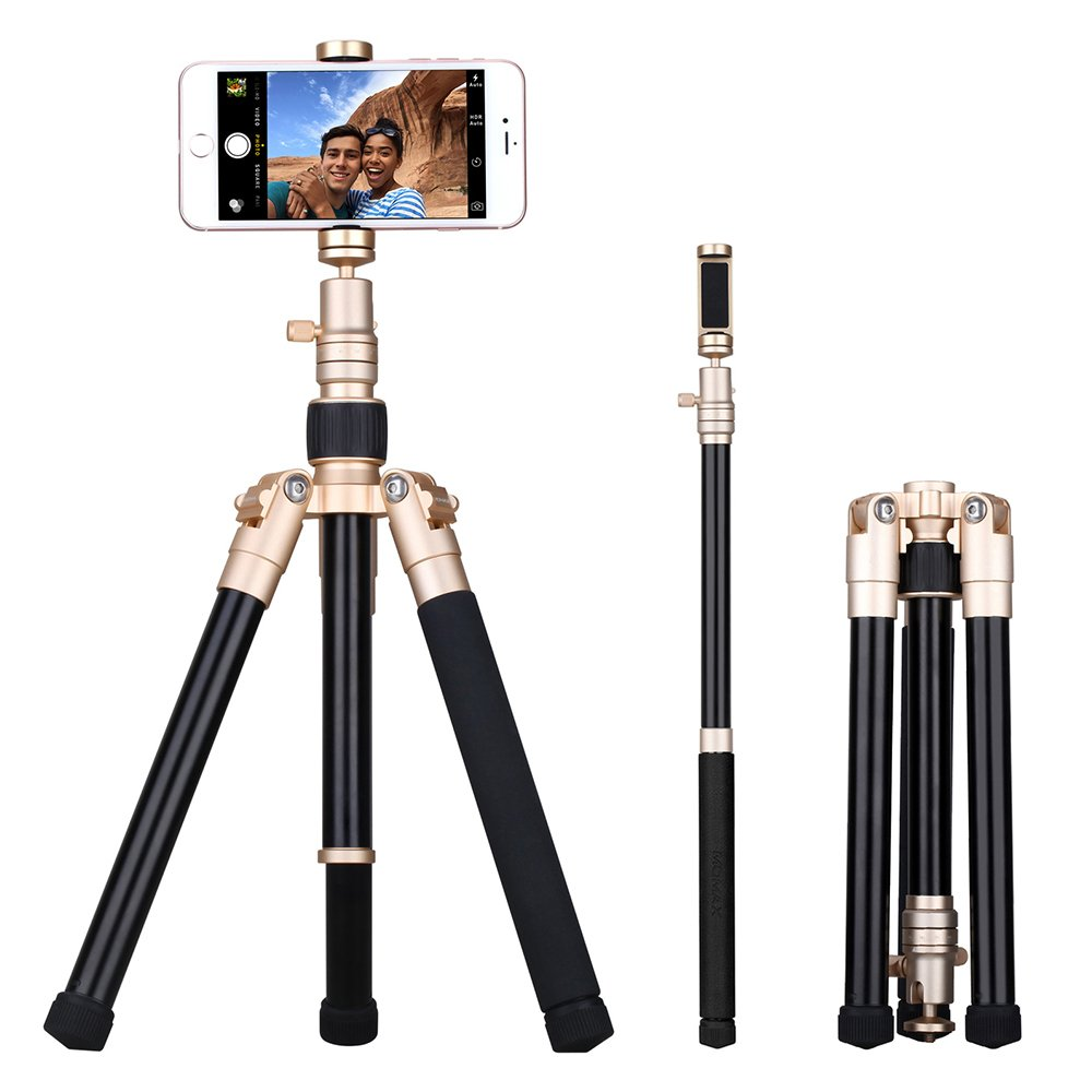 MOMAX Compact Tripod, 52 Inch 1.87lbs Lightweight Aluminum Alloy Camera Tripod Monopod Stand with Phone Grip+360 Degree Ball Head + 1/4'' Quick Release for DV Canon Nikon Sony DSLR Cameras,Gold by MOMAX