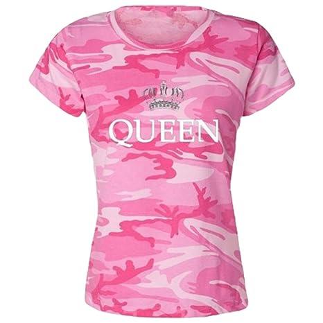 ZKOO Pärchen Kurze Ärmel T-Shirt Set Liebhabe Tarnung King Queen Kaiserkrone Druck Paar Kleidung Tops T-Shirt Geschenk Herren