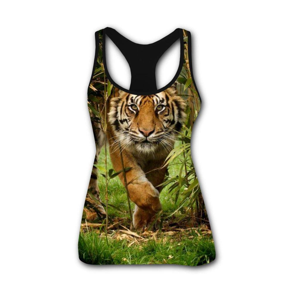 Forest Bengal Tiger Animal King 3D Print Casual Custom Sleeveless Tanks Vest Top Women Girl XL