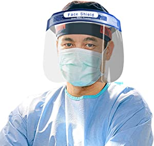10pcs Safety Face Shield with Protective Clear Film Protect Eyes and Face Elastic Band Reusable Full Face Transparent Breathable Visor