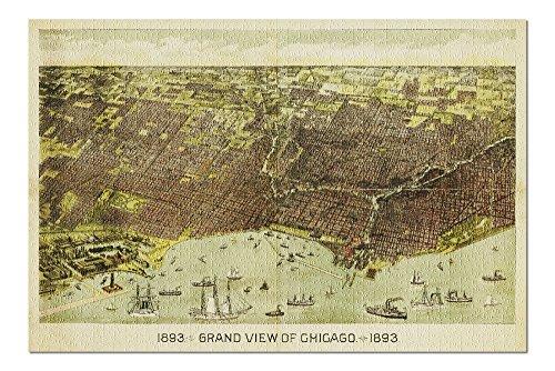 Chicago, Illinois - Panoramic Map (20x30 Premium 1000 Piece Jigsaw Puzzle, Made in USA!) (Panoramic Illinois Map)