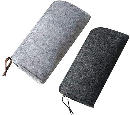 2 Piezas Bolso de Fieltro Lápiz,Estuche Bolsa de Lápiz, Multi-Funcional papelería Bolsa Zipper para Bolígrafos, Lápices, Bolígrafos de Gel, Marcadores (Negro y Gris): Amazon.es: Oficina y papelería