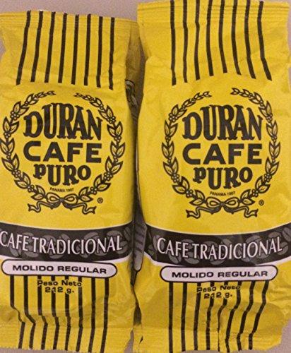 Duran Cafe Puro (212 gr=1/2 lb) 2 Pack, Panama's Finest Tradicional Molido Regular (Reg Ground) Panama's Best Coffee