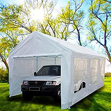 Peaktop 20u0027x10u0027 Heavy Duty Portable Carport Garage Car Shelter Canopy Party Tent Sidewall & Amazon.com: Peaktop 20u0027x10u0027 Heavy Duty Portable Carport Garage Car ...