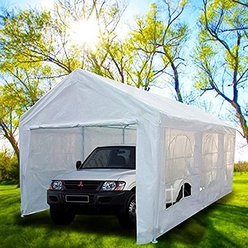 Heavy Duty Portable Carport Garage Car Shelter Canopy Party Tent Sidewall with Windows White ()