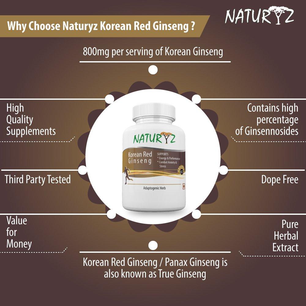 Naturyz Korean Red Ginseng 800Mg - 30 Servings (60 Capsules)
