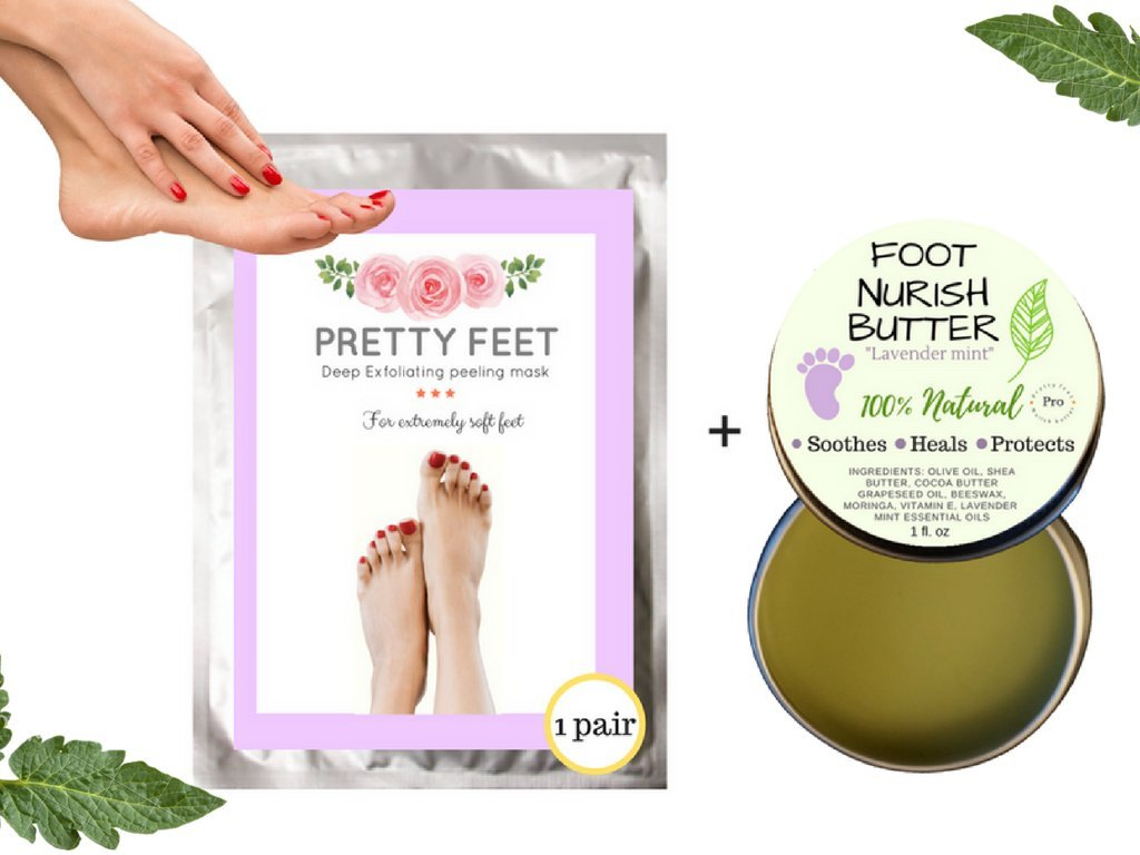Exfoliating foot peeling mask and foot butter combo pack.removes dead skin, detox, heals, repair, smooth, and soften your dry, rough, cracking, callused, feet | Restores healthy feet (2 pack)
