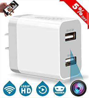 Wireless Spy Camera, Hidden Camera WiFi, Mini Nanny Cam USB Wall Charger, with