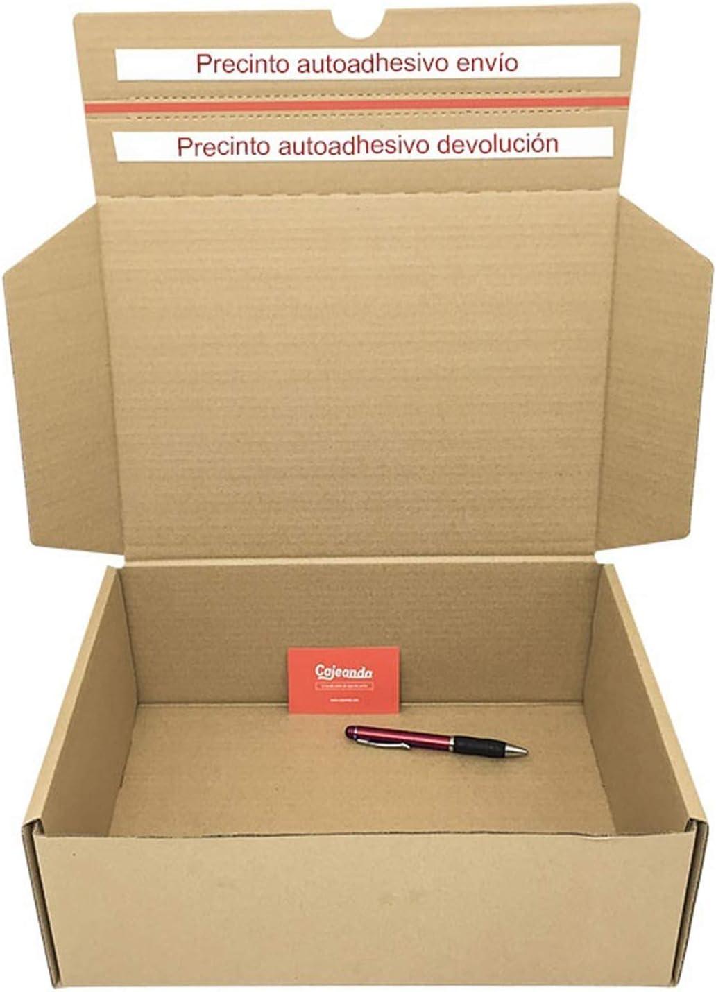 Pack de 10 Cajas de Cartón para Envíos (Caja Doble Envío) de 25 x 19 x 8,5 cm. Color Marrón. Permite Hacer Dos Envíos en Uno. Mudanzas. Fabricadas en ...