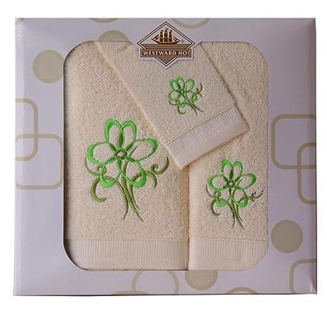 Juego de toallas diseño de flores, color verde oscuro y crema,