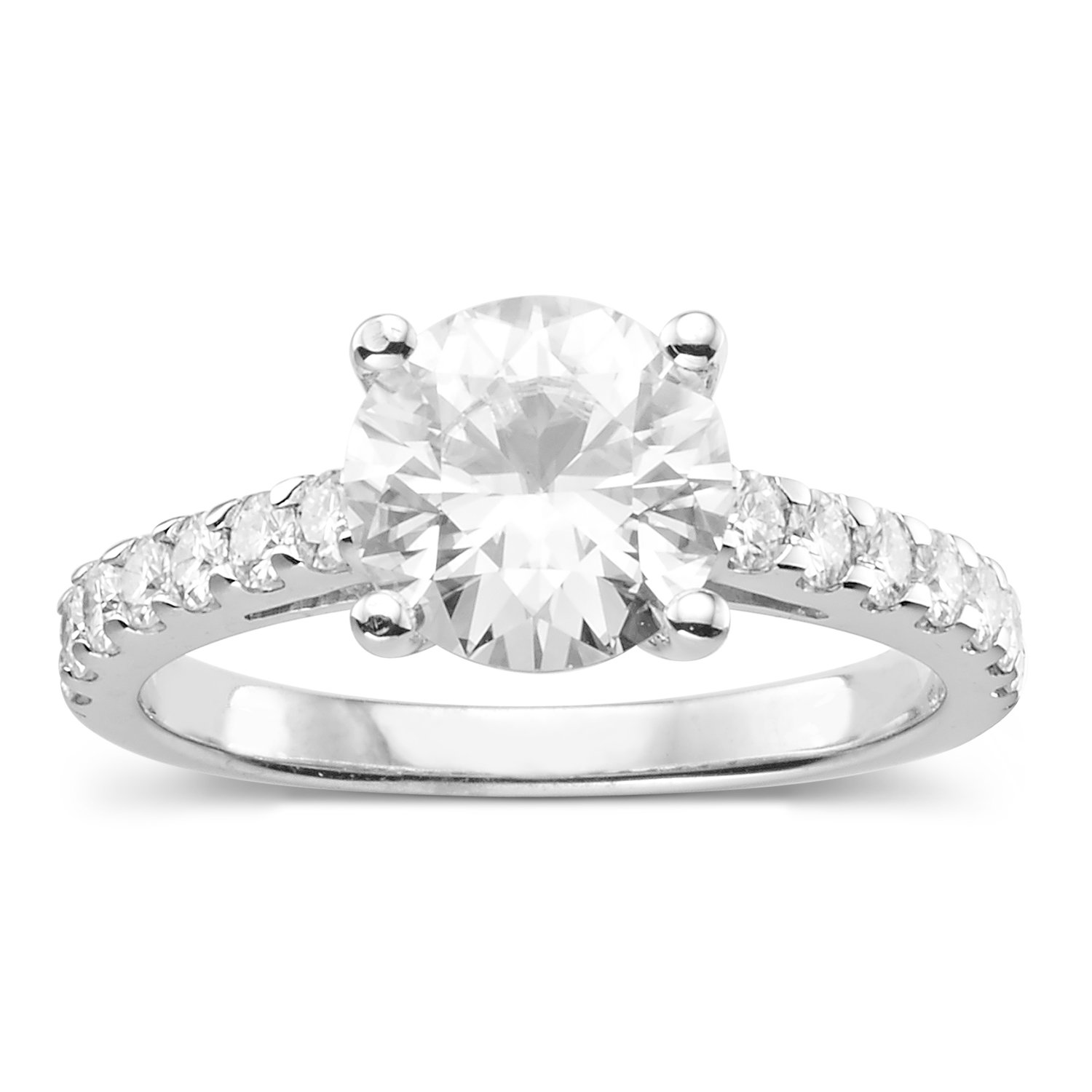 Forever Classic Round 8.0mm Moissanite Engagement Ring-size 7, 2.32cttw DEW By Charles & Colvard by Charles & Colvard