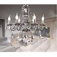 Junhong Lighting Chandeliers LED 3 Brightness Smoke Grey Crystal Candle Chandelier Ceiling Lights Fixture Lamp Pendant…