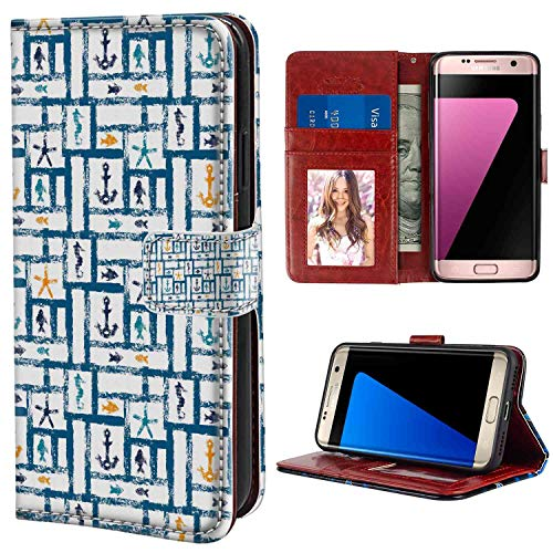 Wallet Phone Case Compatible for Galaxy S7 (2016) [5.1 Inch] Navy Marine Grunge Starfish Anchor Seahorse Underwater Marine Murky Design Petrol Blue Marigold Teal Print with Coin Slot Case ()