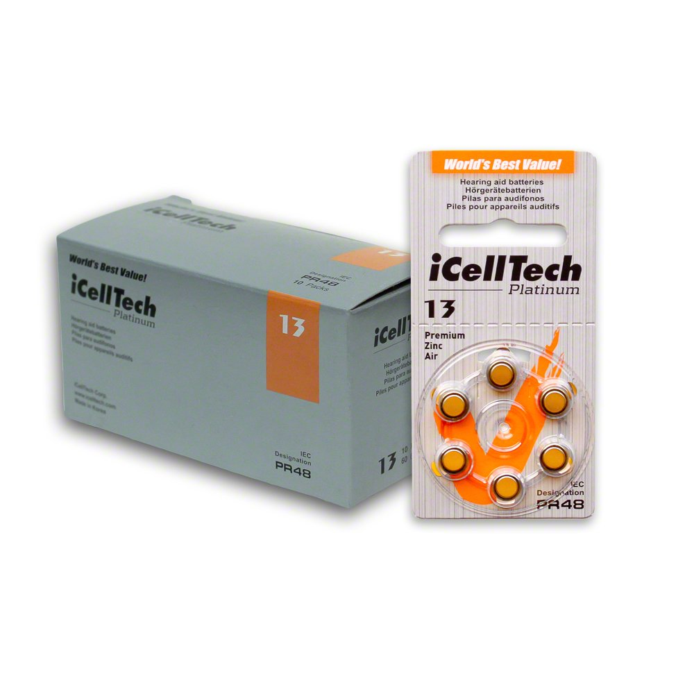 60 iCellTech Hearing Aid Batteries Size: 13 + Battery Caddy