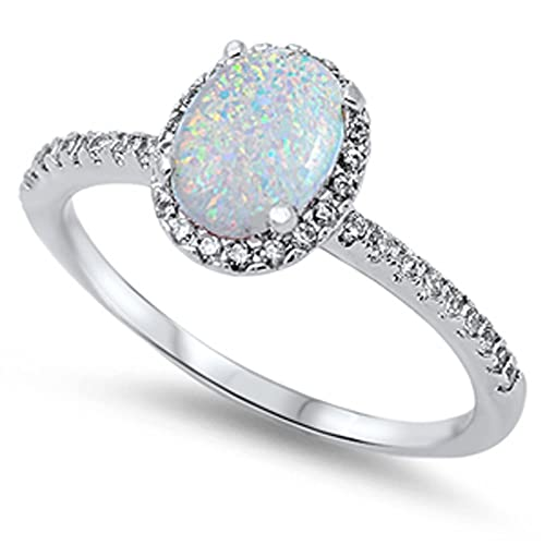 J.Memi 925 Sterling Silver Ring Oval Created Blue Opa White Gold Plated Cubic Zirconia For Women Girl Engagement Wedding Party sABdnfw