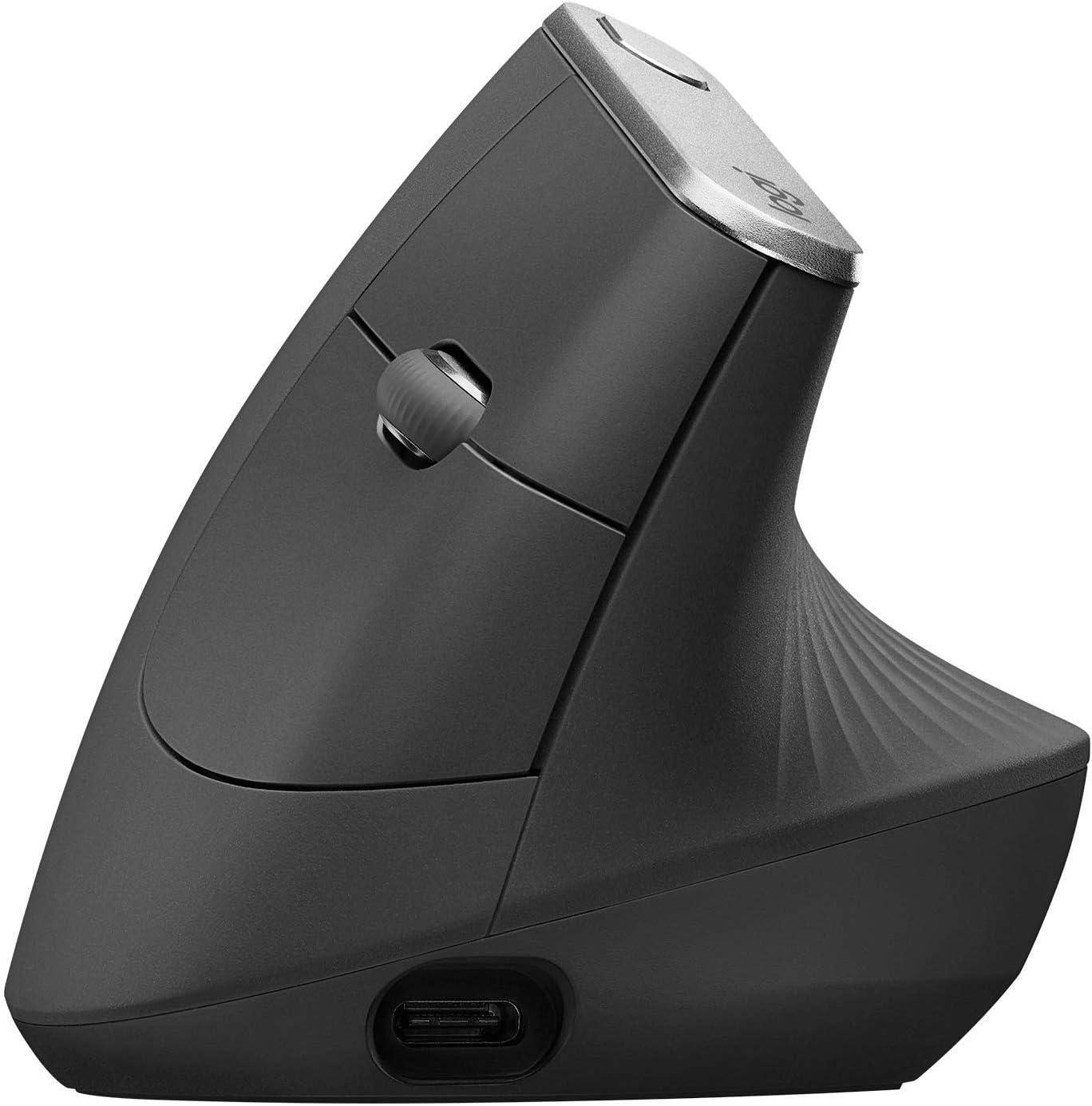 Logitech MX Vertical Ratón Inalámbrico Ergonómico, Multi-Ordenador, 2.4 GHz/Bluetooth con Receptor Unifying USB, Seguimiento Óptico 4000 DPI, 4 Botones, Carga Rápida, Portátil/PC/Mac/iPad OS, Negro