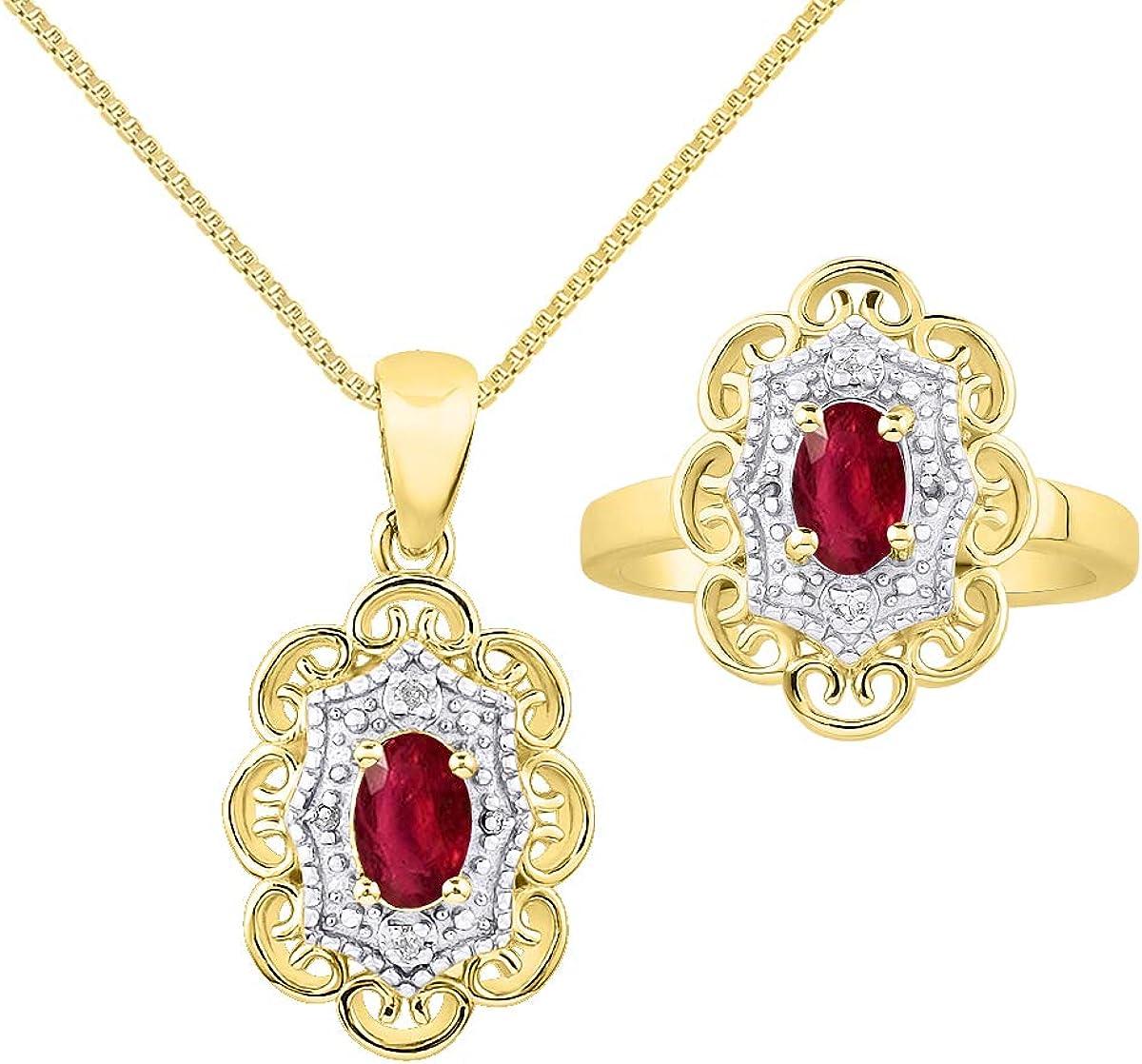 RYLOS - Collar con colgante de halo con patrón floral y anillo a juego, gema ovalada preciosa y diamantes brillantes auténticos de oro amarillo de 14 quilates, 6 x 4 mm, esmeralda, rubí y zafiro