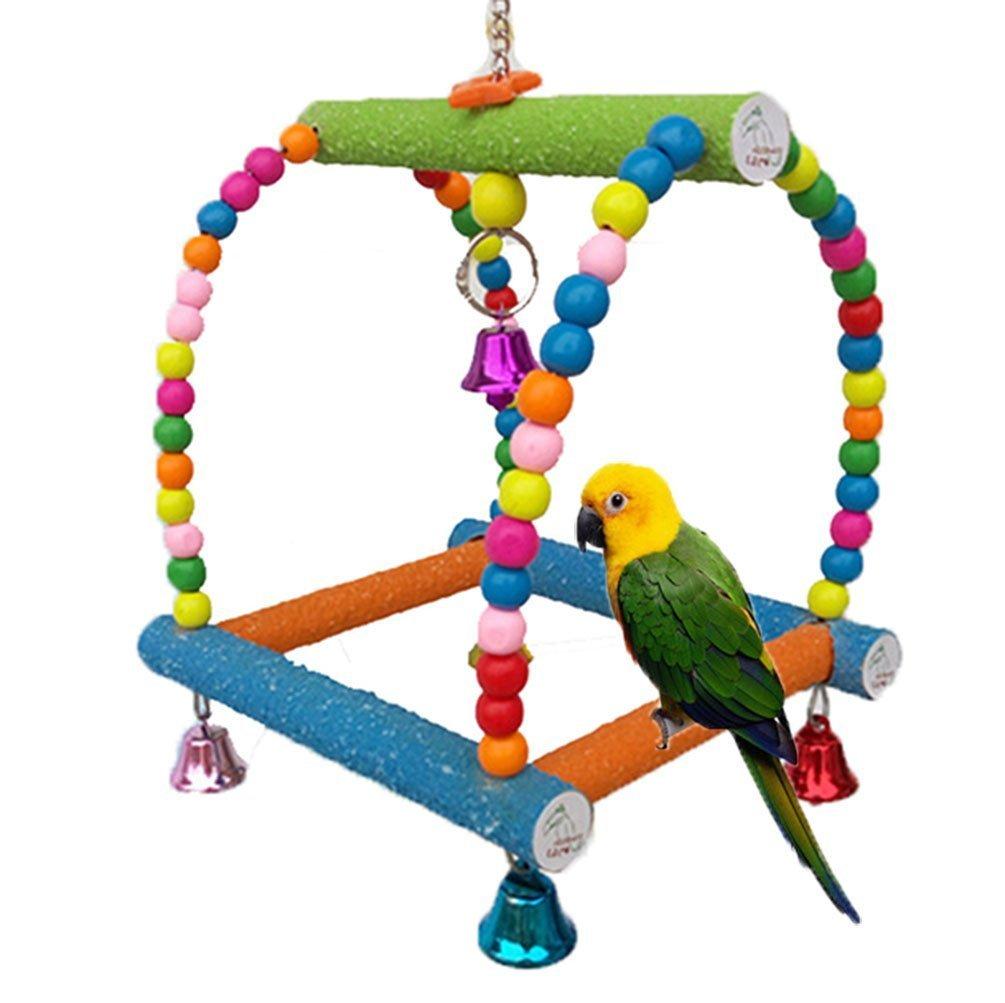 coloré en bois Swing Bird Toy pour Parrot Perroquet Gris d'Afrique perruches cacatoès perruche Amazones Calopsittes inséparables Finch Cage Perchoir jouet Paw broyage Échelle Hypeety