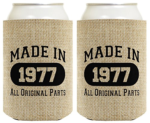 40th Birthday Gift Coolie Made 1977 Can Coolies 2 Pack Can C