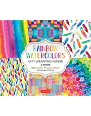 Rainbow Watercolors Gift Wrapping Papers 6 sheets: High-Quality 24 x 18 inch Wrapping Paper