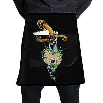 Amazon.com: Negro Chef delantales de cocina mitad de cocción ...