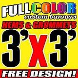 3' X 3' Full Color Printed Custom Banner 13oz Vinyl Hems & Grommets Free Design By BannersOutlet USA