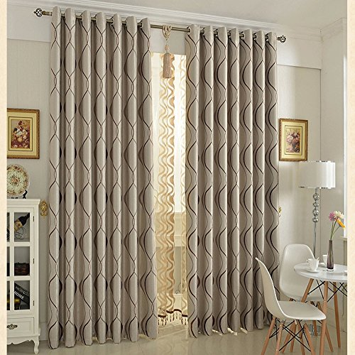 KoTing Brown Curtain for Living Room Blackout Geometric Bedroom Window Curtain and Drape Grommet 1 Panel 84 inch Long