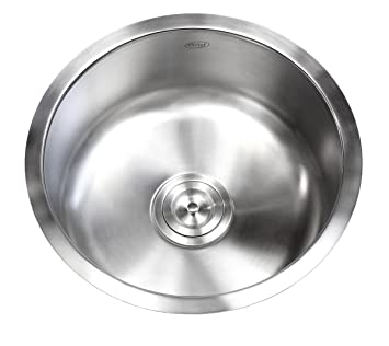 17 inch stainless steel undermount single bowl kitchen bar prep sink round 16 - Round Sinks Kitchen