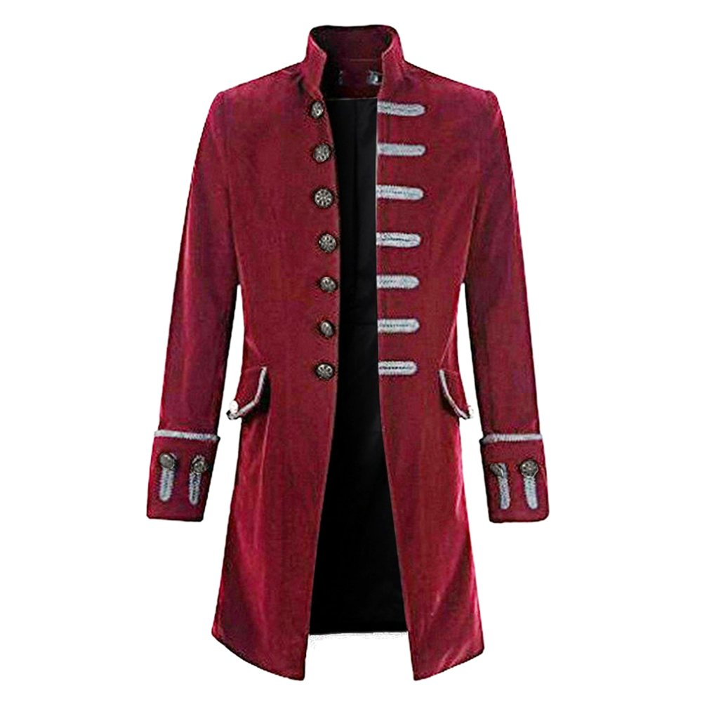 CysincosMen Vintage Steampunk Tailcoat Jacket Goth Long Uniform CYU426V303