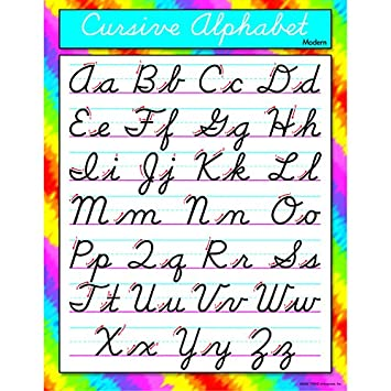 Worksheets Cursive Alphabet amazon com trend enterprises cursive alphabet modernlearning chart t 38137