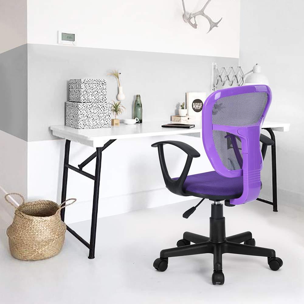 Mesh Mid-Back Swivel Desk Chair Executive Adjustable Computer Task Desk Chairs with Armrest for Kids Student Study Room, Purple homycasa
