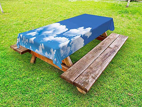 Landscape Outdoor Tablecloth,Floating Clouds in The Sky on A Sunny Day Summertime Natural Scene Picture Print,Table Cloths Rectangle Plastic,61W X 100L Inch White Blue ()