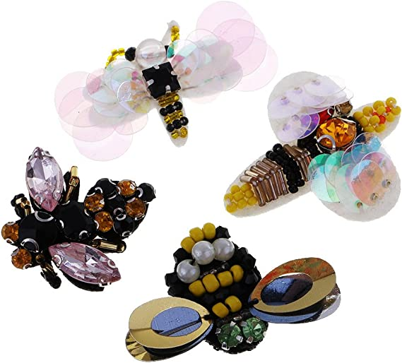 9 Pieces Bee Dragonfly Insect Crystal Rhinestone Beads Patch Sew on Patches for Garment Decoration